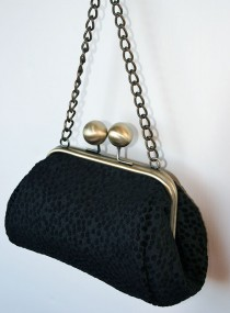 Big Bobble Clutch Black Dotty
