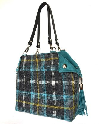 Limited Edition Harris Tweed Feerie Flapper Charcoal Turquoise Check