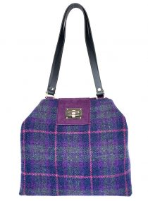 Limited Edition Harris Tweed Sonsie Shopper Purple Green Check