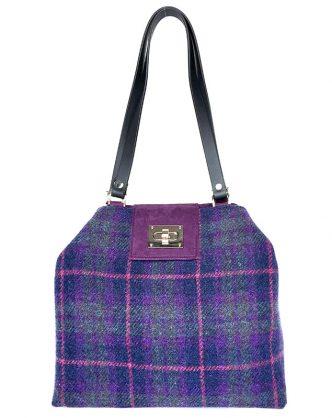 Limited Edition Harris Tweed Sonsie Shopper Purple Green Check