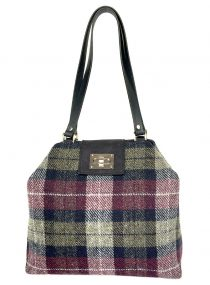 Limited Edition Harris Tweed Sonsie Shopper Sage Mulberry