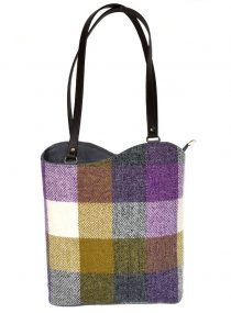 Limited Edition Harris Tweed Two Way Toonie Grey Green Patchwork